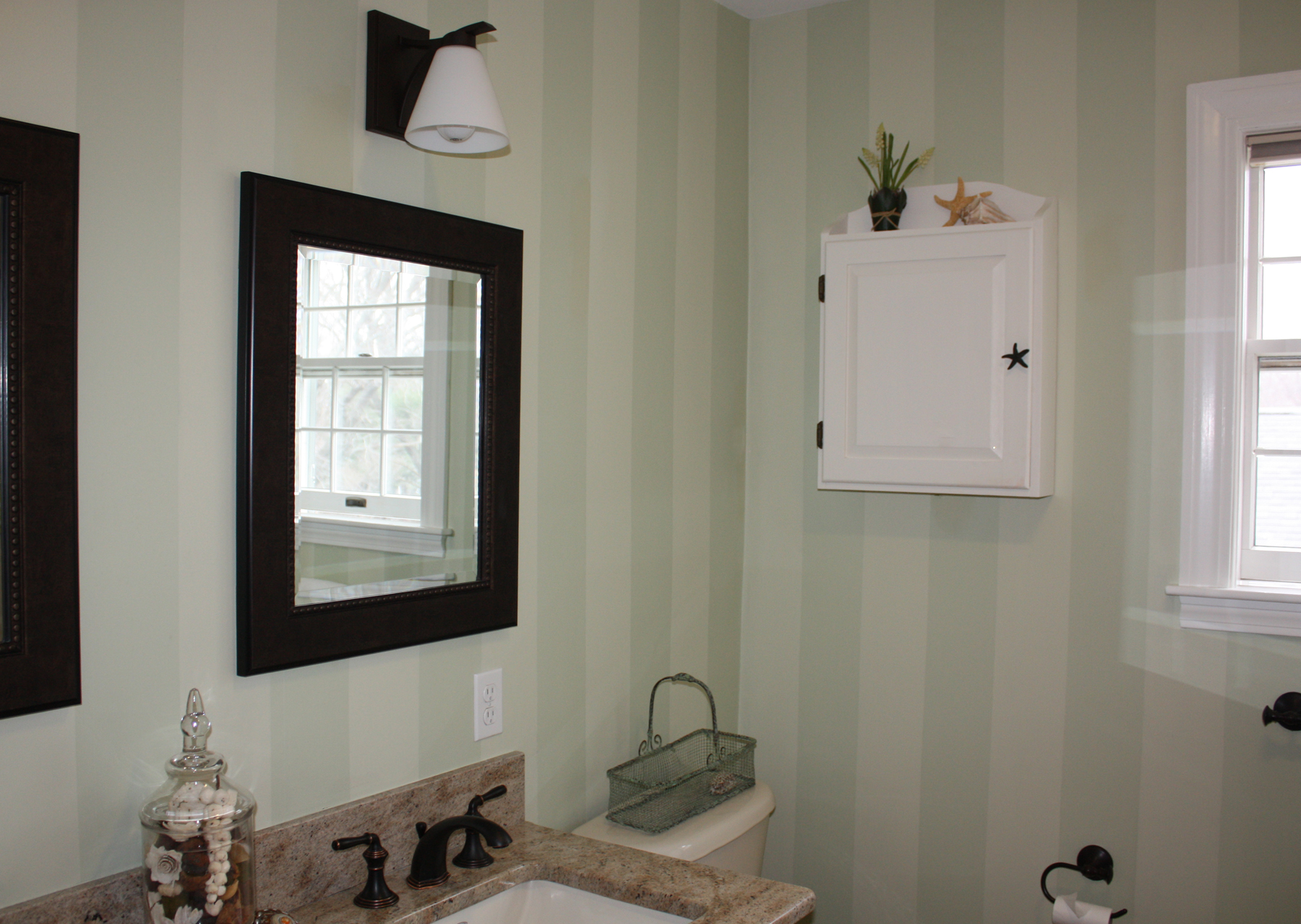 She Decided On Painted Tone On Tone Stripes That Looks Classic And Elegant.  The Original Color, Guilford Green From Benjamin Moore, Was Half Tinted To  ...