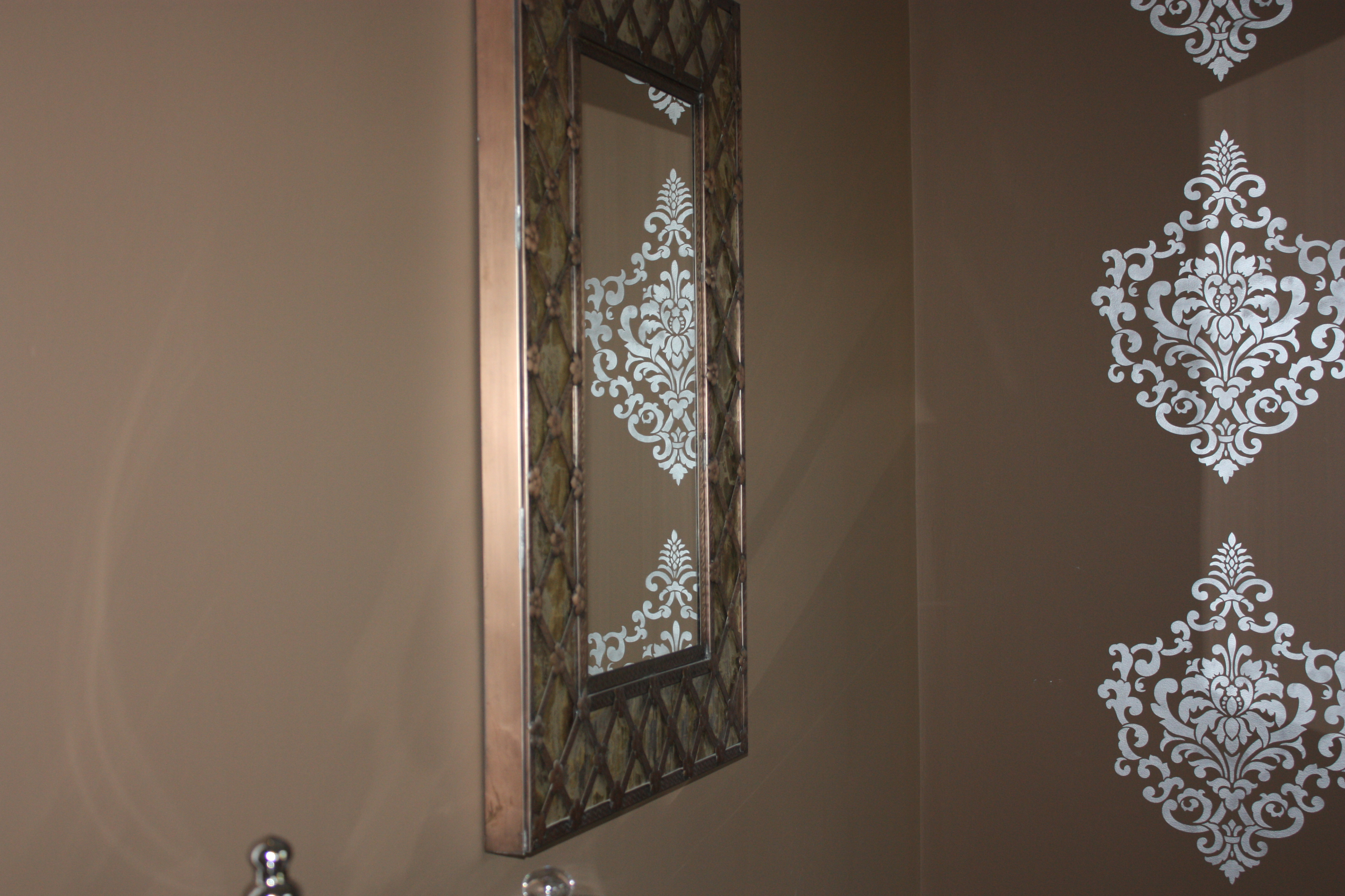 Damask stenciled accent wall classic fauxs finishes i love how the damask stencils are reflected in the mirror amipublicfo Gallery