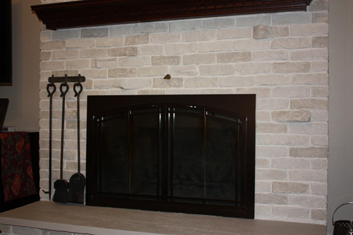 closeup brick fireplace