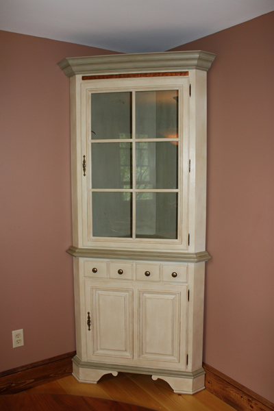 Chalk Painted Corner Hutch - Classic Fauxs & Finishes